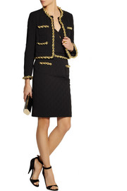 Moschino Chain-trimmed quilted crepe skirt