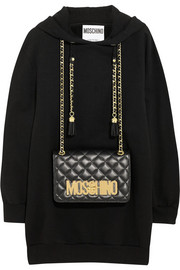 Moschino Bag-embellished cotton-jersey hooded top