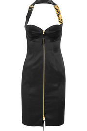 Moschino Leather-trimmed satin-crepe mini dress