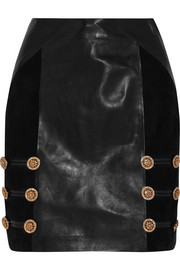 Versace Suede-paneled leather mini skirt
