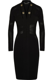 Versace Embellished cutout stretch-knit dress