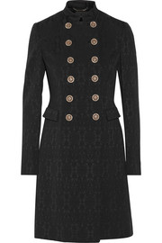 Versace Double-breasted stretch wool-blend brocade coat