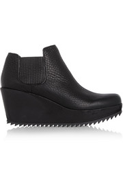 Pedro Garcia Fern textured-leather and suede wedge ankle boots