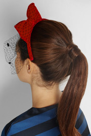 REDValentino Velvet and point d'esprit bow headband