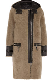 Ava leather-paneled shearling coat