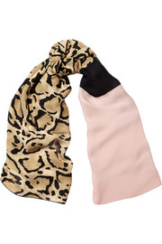 Gucci Color-block leopard-print silk scarf