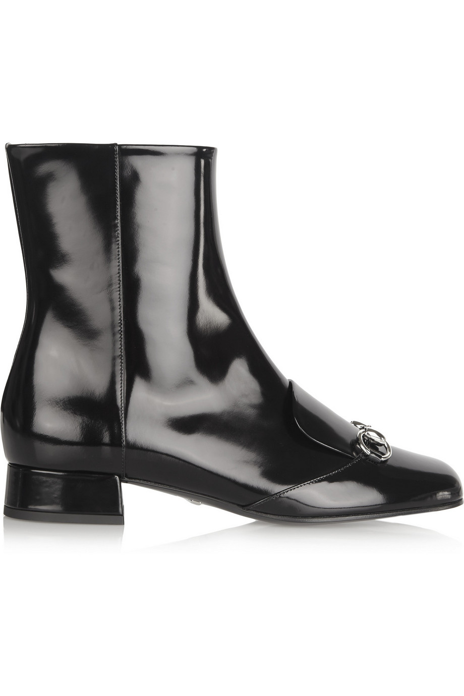 Gucci Horsebit-Detailed Patent-Leather Ankle Boots, Black, Women's US Size: 7.5, Size: 38