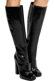 Horsebit-detailed patent-leather knee boots