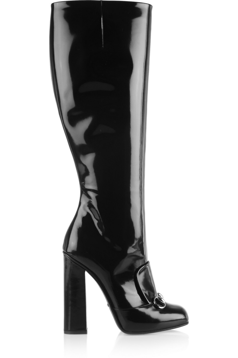 Gucci Horsebit-Detailed Patent-Leather Knee Boots, Black, Women's US Size: 10, Size: 40.5