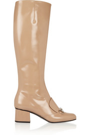 Horsebit-detailed glossed-leather knee boots