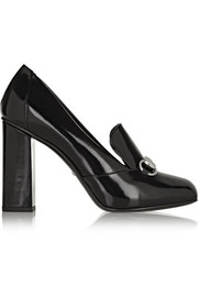 Horsebit-detailed patent-leather pumps