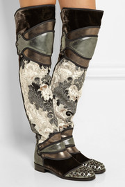 Dolce & Gabbana Metallic leather, brocade and velvet over-the-knee boots