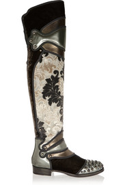 Metallic leather, brocade and velvet over-the-knee boots