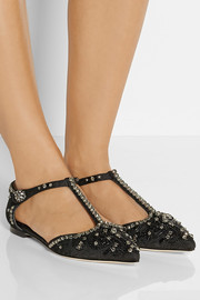Dolce & Gabbana Embellished brocade point-toe flats