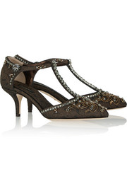 Embellished brocade T-bar pumps
