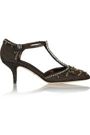 Dolce & Gabbana Embellished brocade T-bar pumps