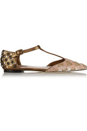 Dolce & Gabbana Embellished velvet and metallic leather T-bar flats