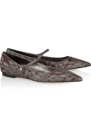 Dolce & Gabbana Metallic floral-brocade point-toe flats