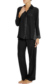 Donna Karan Sleepwear Glamour silk-satin and washed-silk pajama set