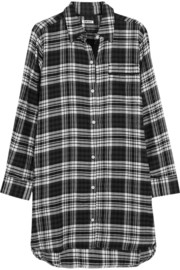 DKNY Plaid cotton-blend flannel nightshirt