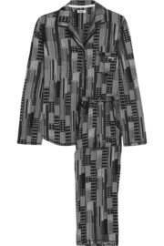 Nightfall printed cotton-blend jersey pajama set