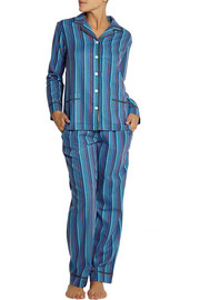 DKNY Shine On striped cotton-blend flannel pajama set