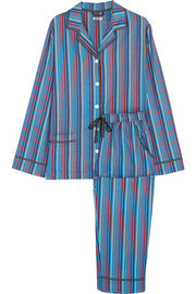 Shine On striped cotton-blend flannel pajama set