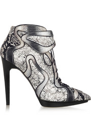 Dégradé elaphe and printed leather ankle boots