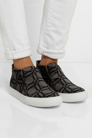 Pierre Hardy Printed velvet high-top sneakers