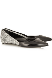 Pierre Hardy Printed patent-leather point-toe flats