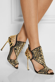 Sergio Rossi Metallic patent-leather and mesh sandals