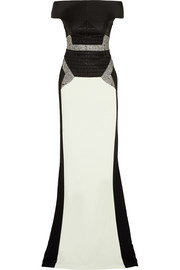 Antonio Berardi Metallic-paneled jacquard, satin-twill and crepe gown