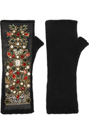 Dolce & Gabbana Embellished leather-paneled cashmere-blend fingerless gloves