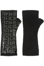 Dolce & Gabbana Embellished cashmere fingerless gloves