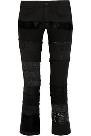 Patchwork cotton-blend twill skinny pants