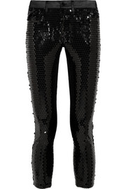 Sequined stretch-satin skinny pants
