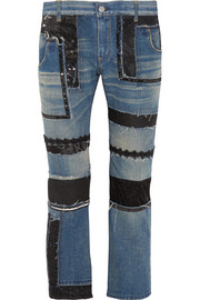 Patchwork low-rise straight-leg jeans