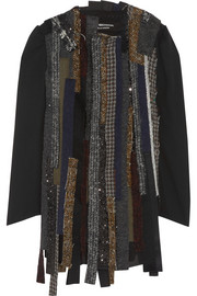 Junya Watanabe Patchwork georgette and tweed jacket