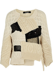 Junya Watanabe Patchwork cable-knit wool-blend sweater