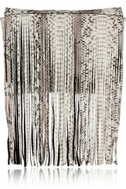 Joni fringed python and suede clutch