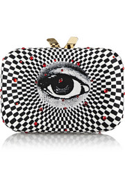 Kotur Morley Swarovski crystal-embellished printed satin box clutch