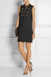 Gucci Embellished leather-trimmed wool-blend twill mini dress