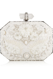 Iris embellished leather box clutch