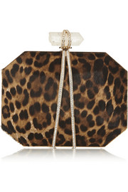 Marchesa Iris leopard-print calf hair box clutch