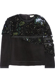 Fendi Mesh-trimmed embellished faux fur and felt sweatshirt