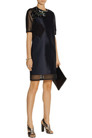 Fendi Embellished twill and mesh mini dress
