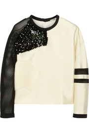 Fendi Embellished tech-satin and mesh top