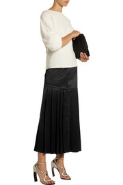 Fendi Pleated satin-twill midi skirt