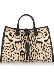 Gucci Jackie Soft medium textured leather-trimmed calf hair tote