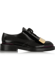 Embellished polished-leather brogues